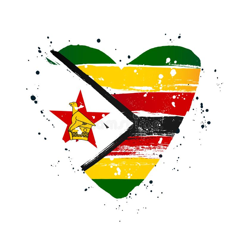 Zimbabwe flag in the form of a big heart stock illustration