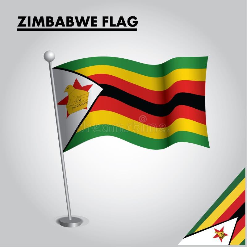 ZIMBABWE flag National flag of ZIMBABWE on a pole stock illustration