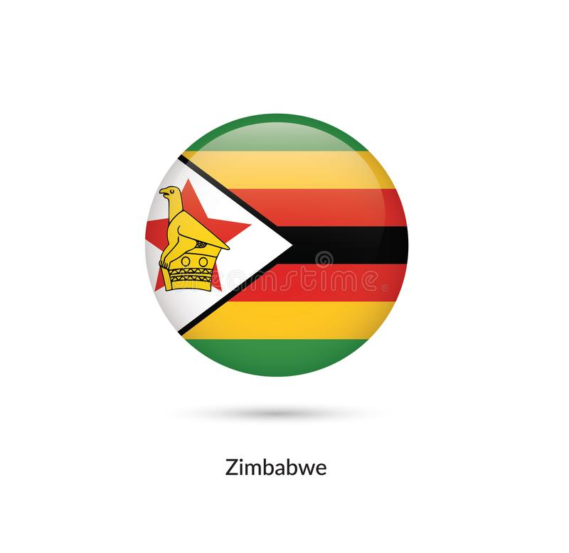 Zimbabwe flagga - rund glansig knapp royaltyfri illustrationer