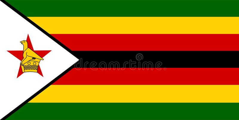 Zimbabwe flaggavektor Illustration av den Zimbabwe flaggan vektor illustrationer
