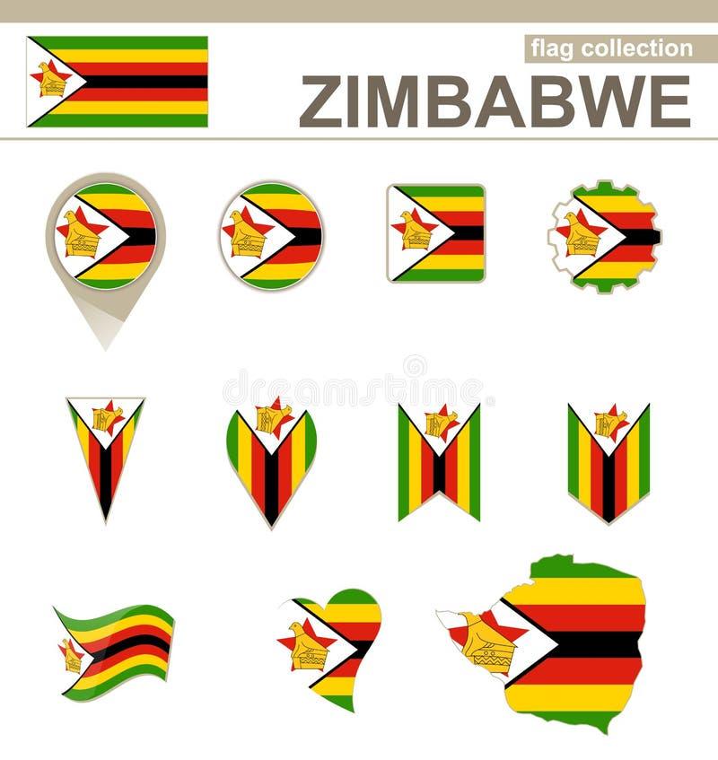 Zimbabwe flagi kolekcja ilustracja wektor
