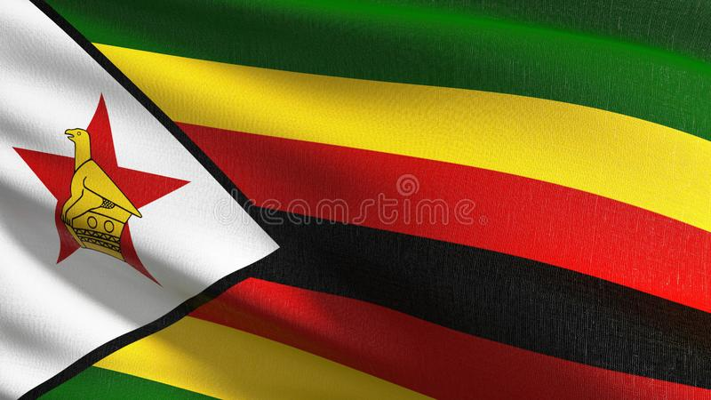 Zimbabwe flagi państowowej dmuchanie w wiatrze odizolowywającym Oficjalny patriotyczny abstrakcjonistyczny projekt 3D renderingu  royalty ilustracja