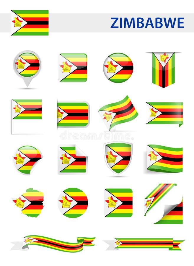 Zimbabwe flagi wektoru set royalty ilustracja