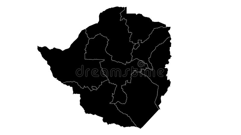 Zimbabwe map detailed country map silhouette visualization for place,travel,texture and background royalty free illustration