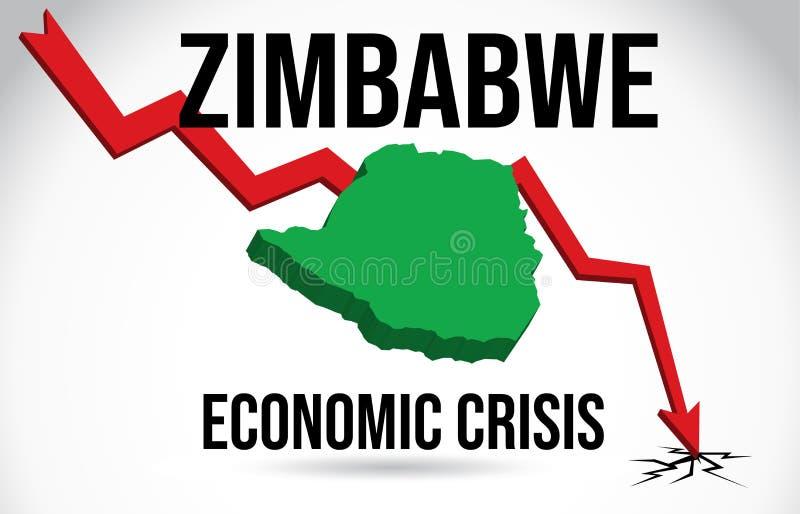 Zimbabwe Map Financial Crisis Economic Collapse Market Crash Global Meltdown Vector. Illustration royalty free illustration