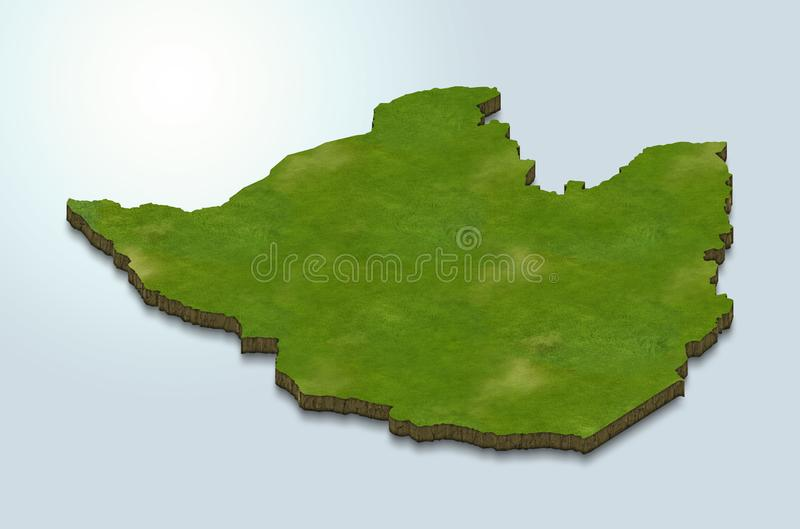Zimbabwe map is green on a blue 3d background vector illustration