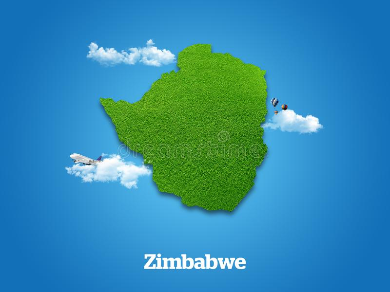 Zimbabwe Map. Green grass, sky and cloudy concept. stock illustration