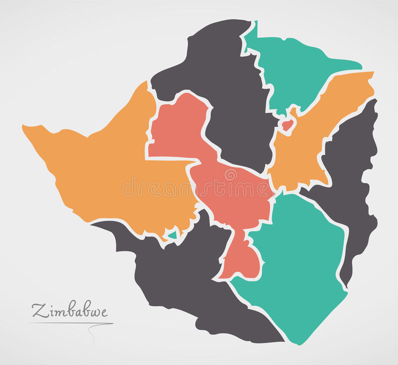 Zimbabwe Map with states and modern round shapes. Illustration vector illustration