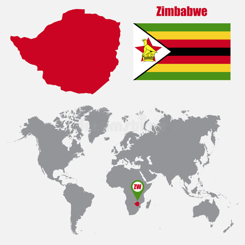 Zimbabwe map on a world map with flag and map pointer vector zimbabwe map on a world map with flag and map pointer vector illustration gumiabroncs Image collections