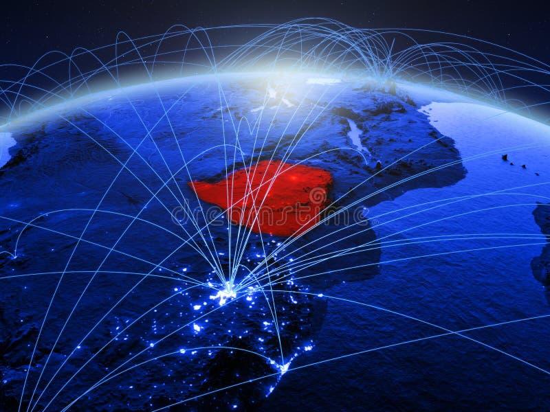 Zimbabwe op blauwe digitale aarde met internationaal netwerk die mededeling, reis en verbindingen vertegenwoordigen 3d royalty-vrije stock fotografie