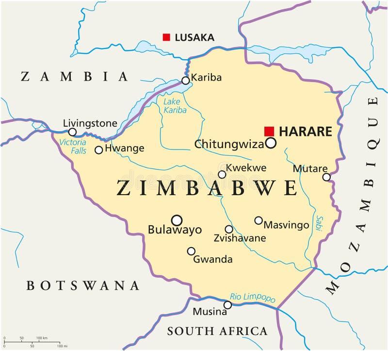 Zimbabwe polityczna mapa ilustracja wektor