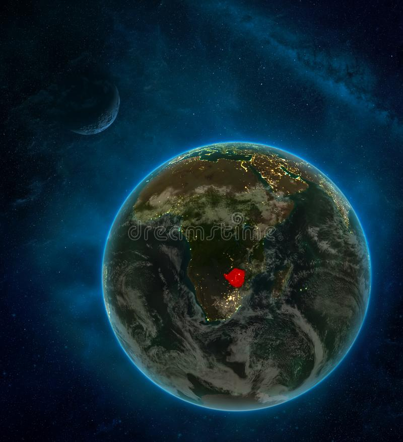 Zimbabwe from space on Earth at night surrounded by space with Moon and Milky Way. Detailed planet with city lights and clouds. 3D. Illustration. Elements of vector illustration