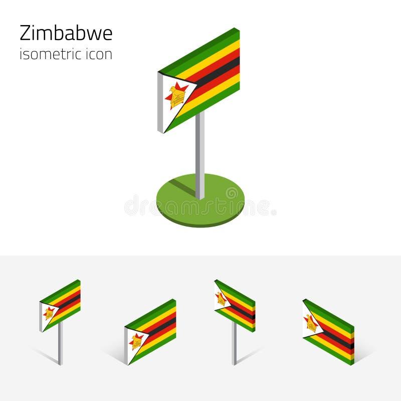 Zimbabwe zaznacza, wektoru 3D isometric płaskie ikony royalty ilustracja
