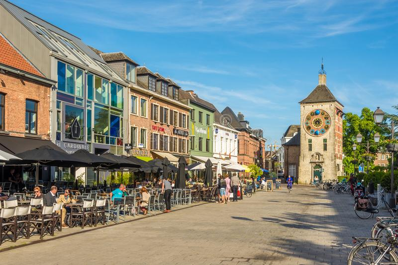 Zimmer Clock tower in the streets of Lier - Belgium. LIER,BELGIUM - MAY 17,2018 - Zimmer Clock tower in the streets of Lier. Lier is a municipality located in royalty free stock image