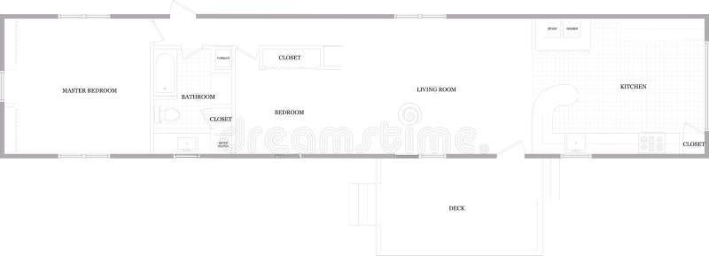 1981 Zimmer Mobile Home. Floor plan. One of many floor plan layouts. 2 bedroom 1 bathroom stock photography