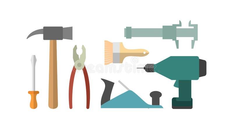 Zimmereiwerkzeuge Schraubenzieher und Bohrgerät Hammer und Tasterzirkel plie vektor abbildung