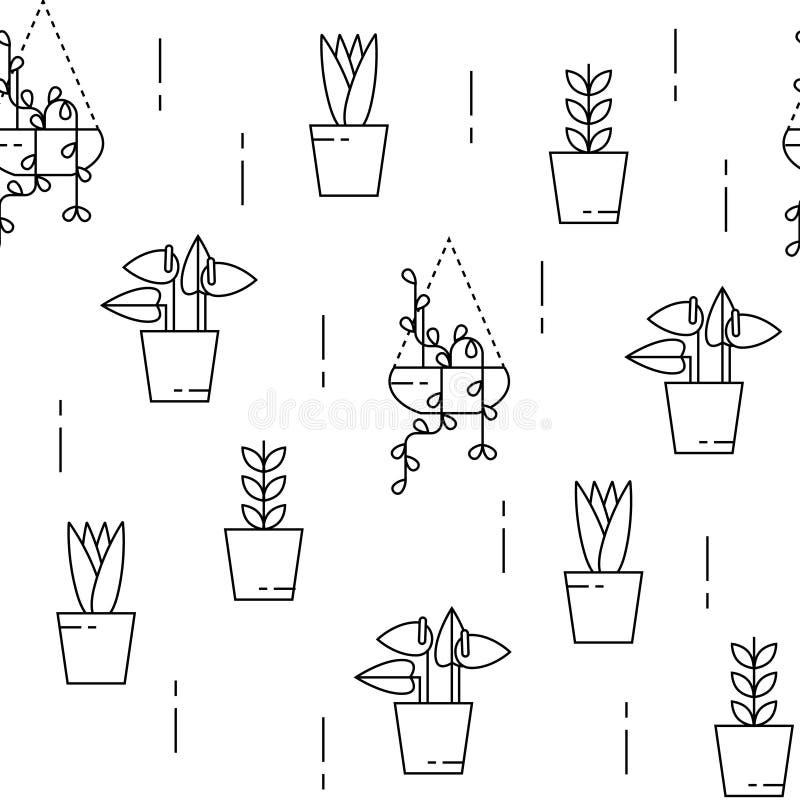 Zimmerpflanzemuster nahtlos lizenzfreie abbildung