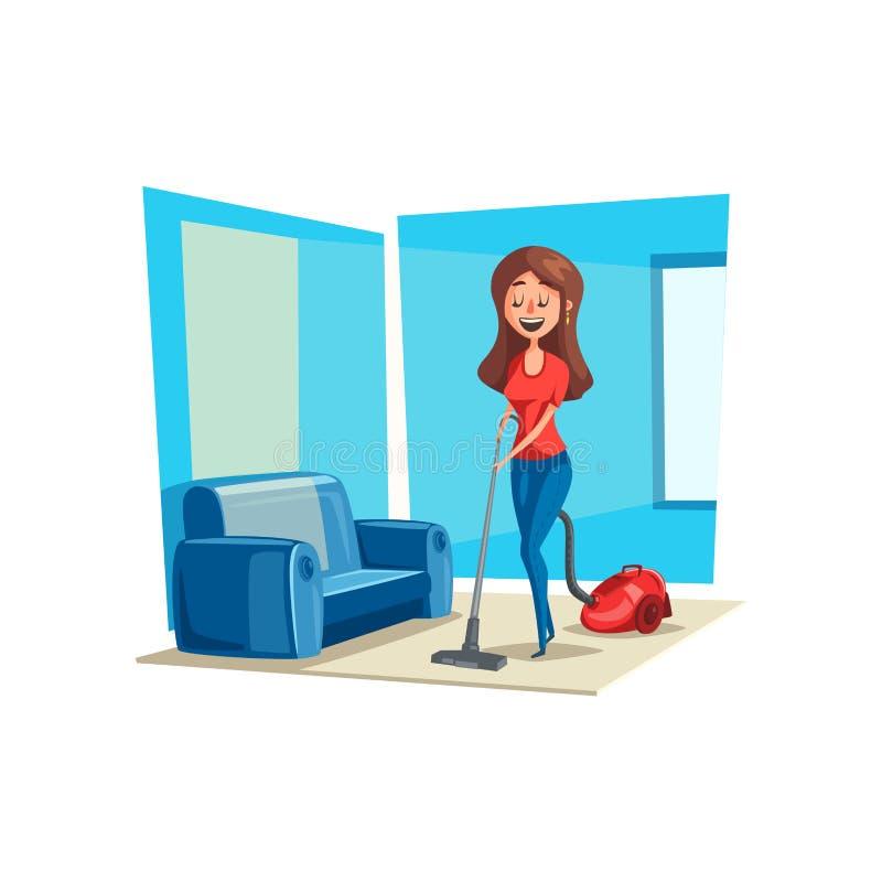 Zimmerreinigungsfrau im Hausvektorplakat vektor abbildung
