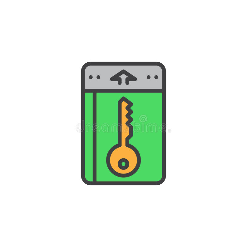 Zimmerschlüssel, Schlosslinie Ikone, füllte Entwurfsvektorzeichen, das lineare bunte Piktogramm, das auf Weiß lokalisiert wurde vektor abbildung