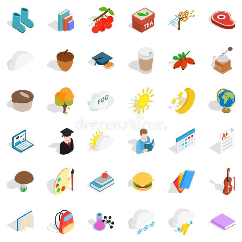 Zimne ikony ustawiać, isometric styl ilustracji