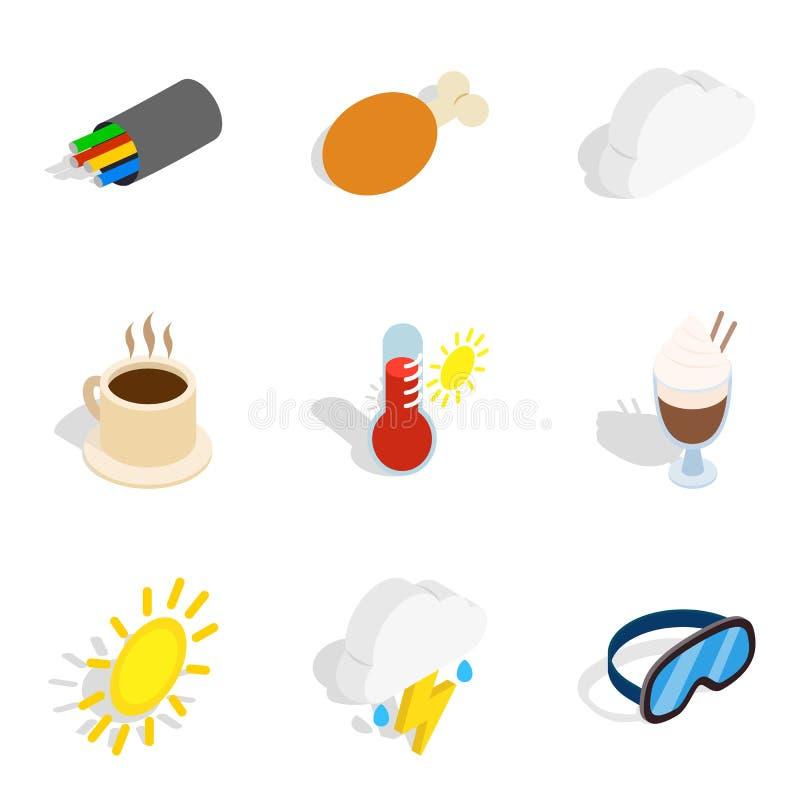 Zimne miejsce ikony ustawiać, isometric styl ilustracja wektor