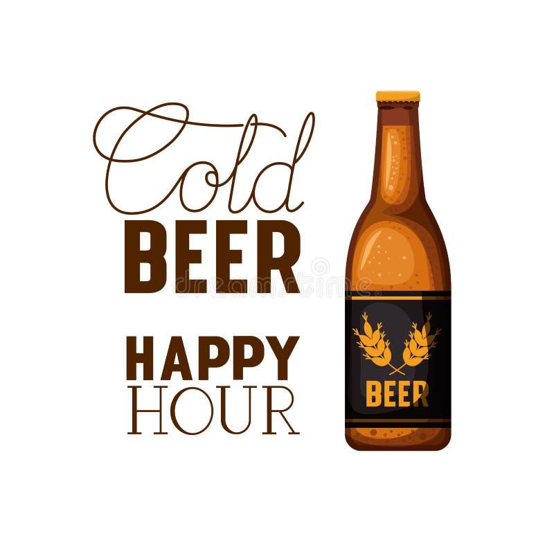 Zimnego piwa szczęśliwej godziny etykietka z butelki ikoną ilustracji