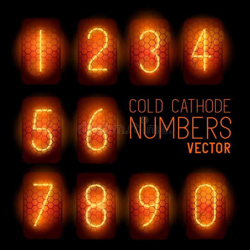 Zimnej katody pokazu Retro liczby ilustracja wektor