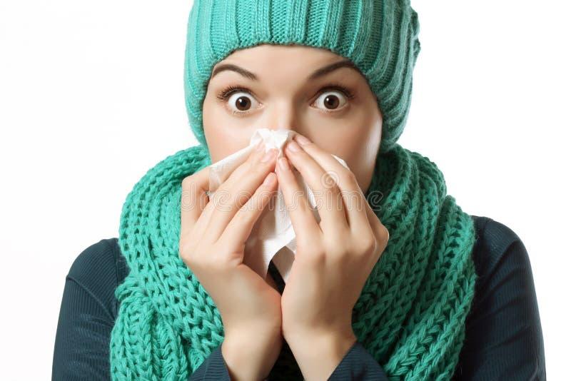 Zimno, chora dziewczyna fotografia stock