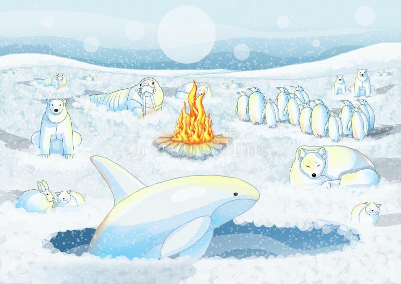 Zimny śnieżny zwierzę ogień daje ciepłu śnieg ilustracja wektor