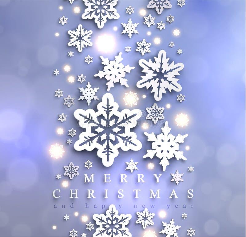 Zimny błękitny iskrzasty Bożenarodzeniowy tło z płatkami śniegu royalty ilustracja