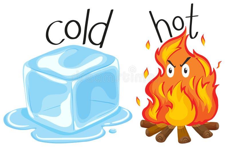 Zimny icecube i gorący ogień ilustracja wektor
