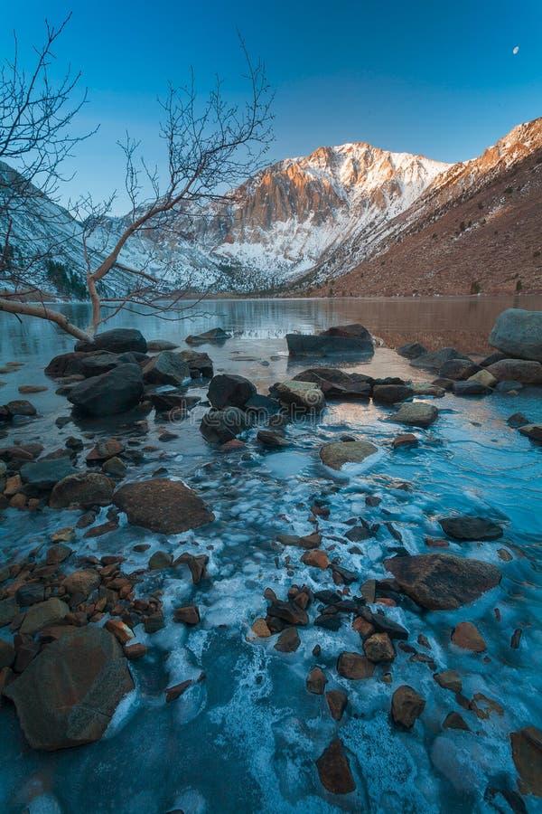 Zimny ranek przy Więzień jeziorem Z Zamarzniętym brzeg fotografia royalty free