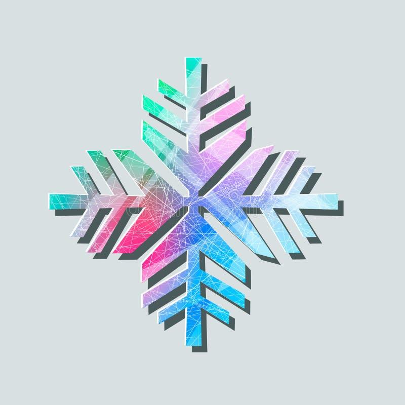 Zimny symbol, płatek śniegu kreskowa ikona, znak, liniowy kolorowy piktogram odizolowywający na bielu Logo ilustracja royalty ilustracja
