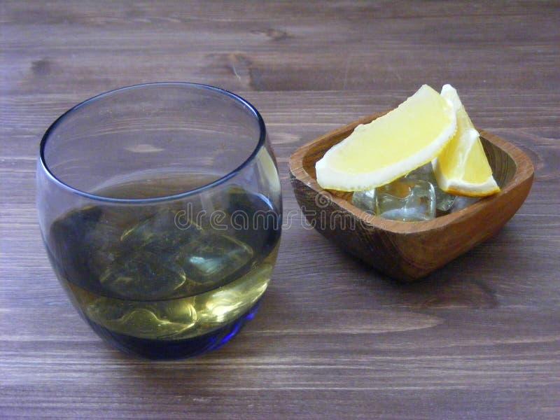 Zimny szkło whisky, cytrus owoc i kostka lodu, obraz stock
