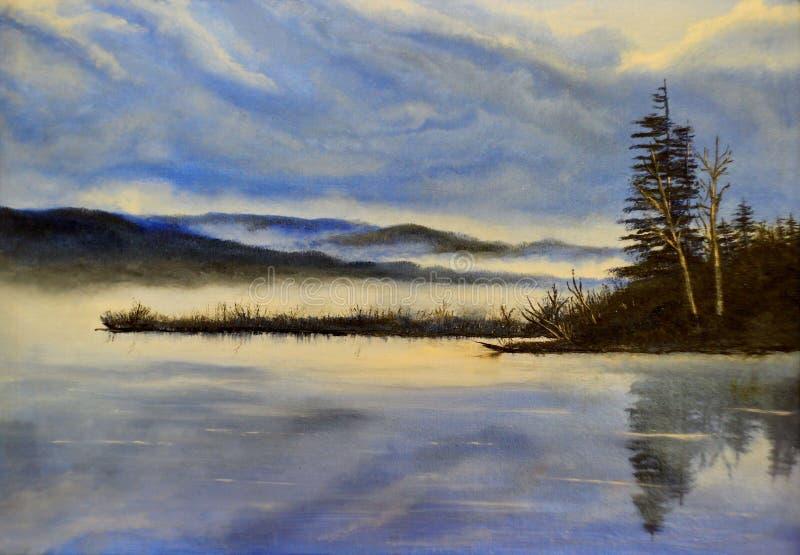 Zimny wieczór na jeziorze - obraz olejny fotografia stock