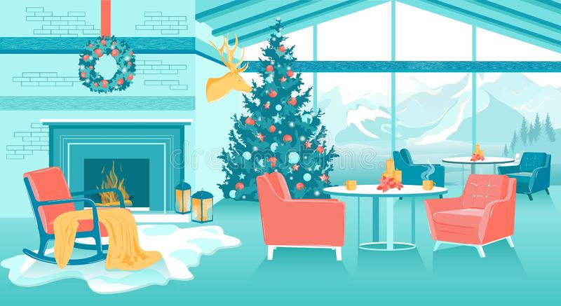 Zimowa Górska Kawiarnia Narciarska Cafe Codzienne Wnętrze ilustracja wektor