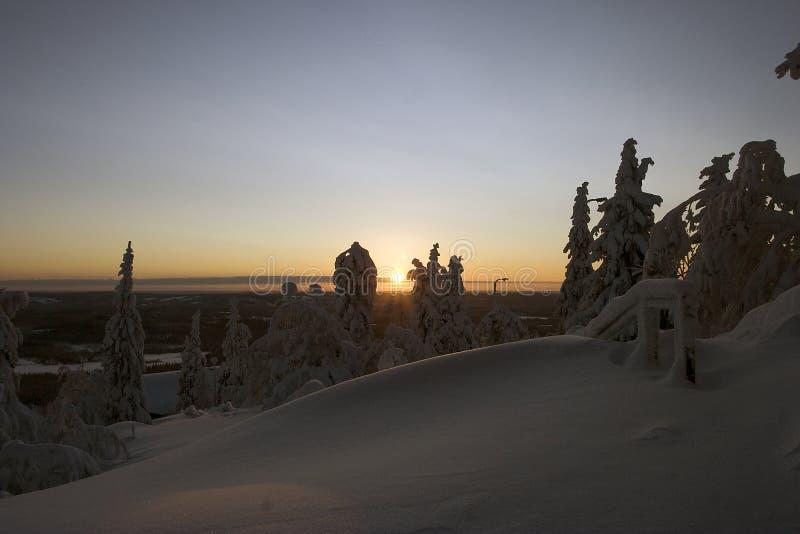 zimowa kraina czarów laponii zdjęcia stock