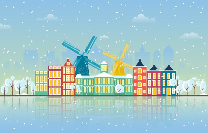 Zimowy śnieg w Amsterdamie City City City Skyline Landmark Building Ilustracja royalty ilustracja