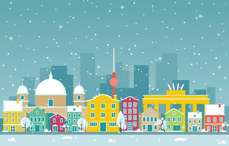 Zimowy śnieg w Berlinie City City City Skyline Landmark Building Ilustracja ilustracji