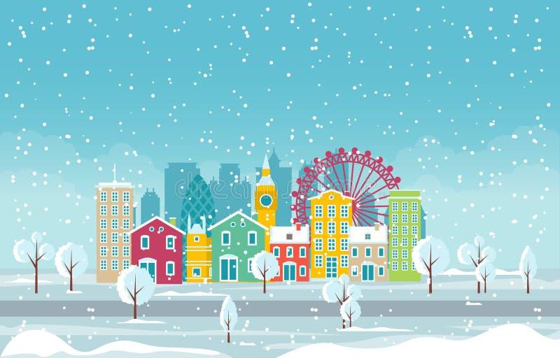 Zimowy śnieg w Londynie City City City Skyline Landmark Building Ilustracja ilustracja wektor