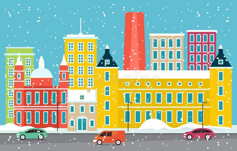 Zimowy śnieg w Madrycie City City City Skyline Landmark Building Ilustracja ilustracji