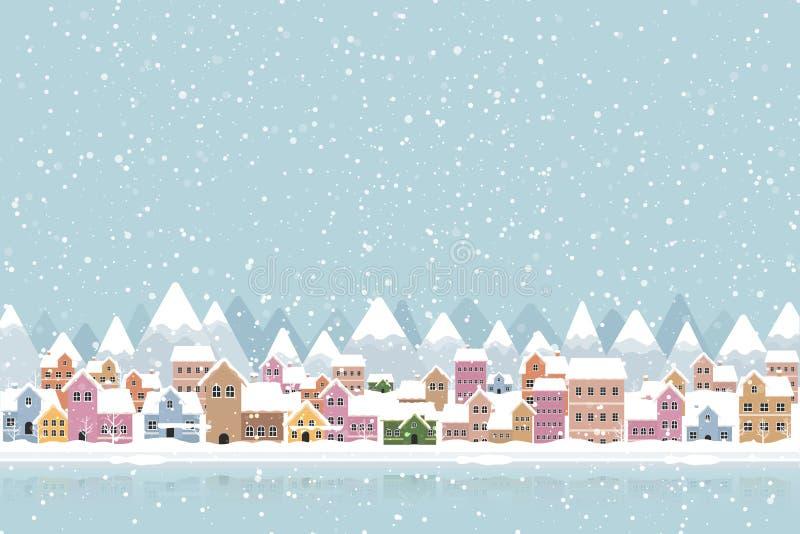 Zimowy miejski styl płaski z opadającymi śniegami i górami royalty ilustracja