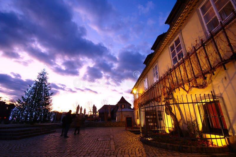 Zimowy zachód słońca, Maribor, Słowenia fotografia royalty free