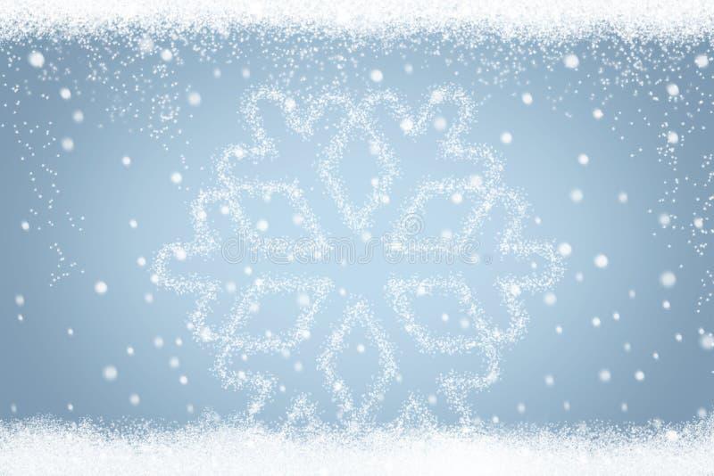 Zimy śnieżny tło z pięknym płatkiem śniegu royalty ilustracja