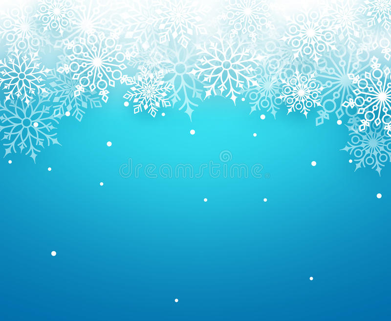 Zimy śnieżny wektorowy tło z biały płatków śniegu elementów spadać royalty ilustracja