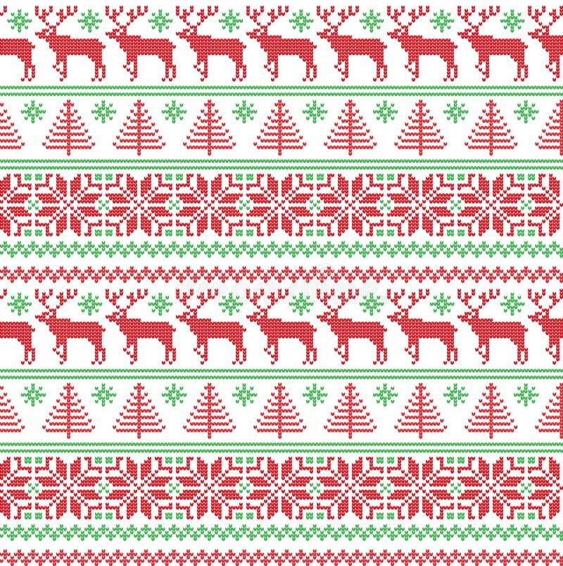 Zimy świąteczni boże narodzenia dziający deseniowy woolen trykotowy ilustracja wektor