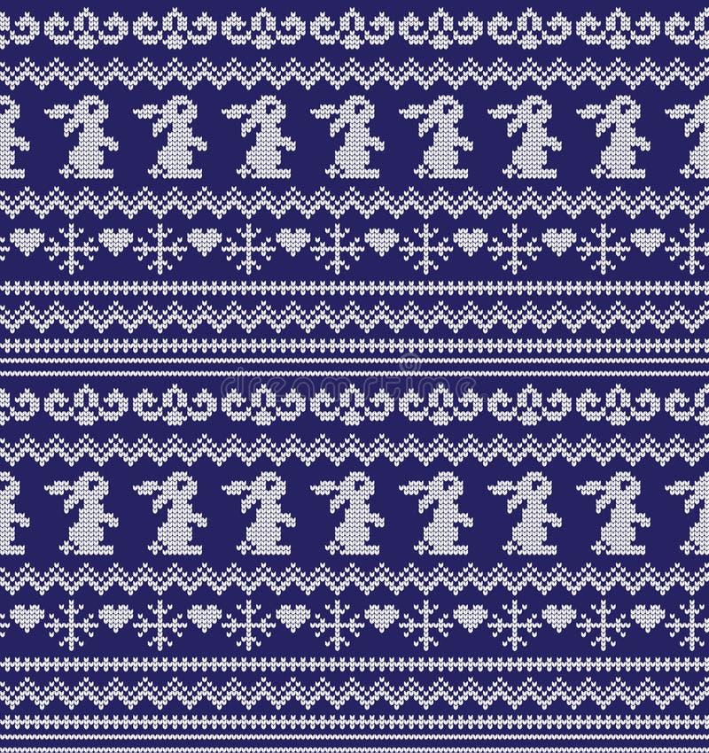 Zimy świąteczni boże narodzenia dziający deseniowy woolen trykotowy royalty ilustracja