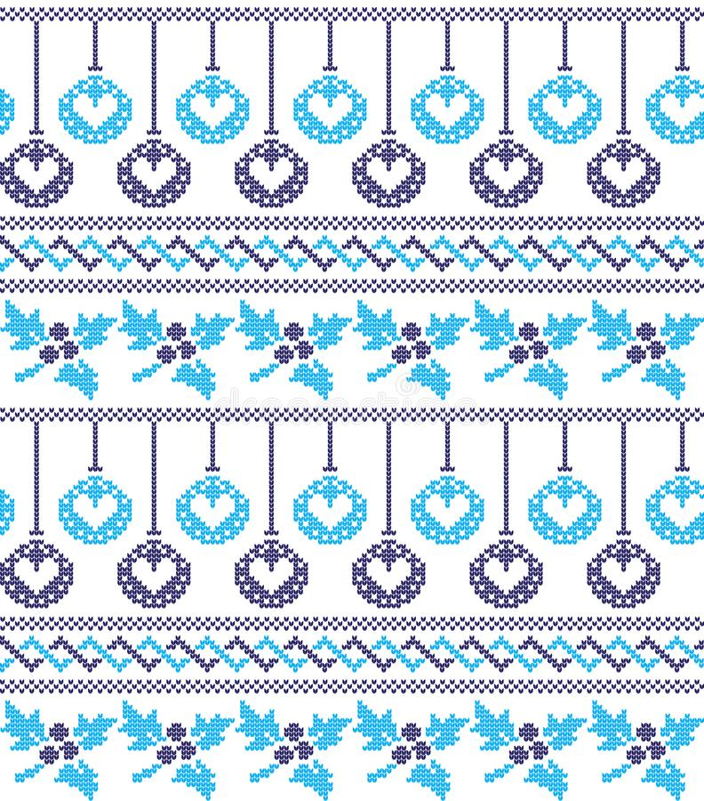 Zimy świąteczni boże narodzenia dziający deseniowy woolen trykotowy ilustracji