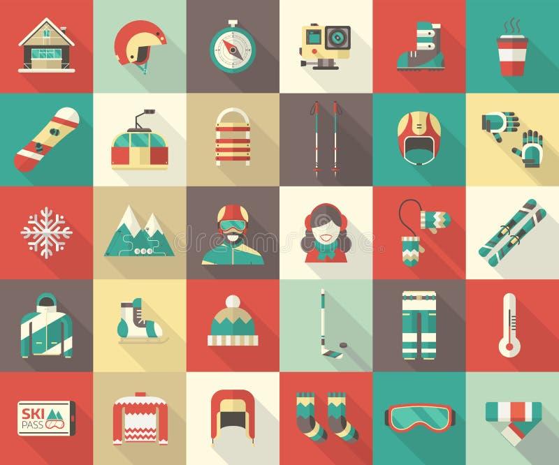 Zimy aktywności ikony Płaska kolekcja royalty ilustracja