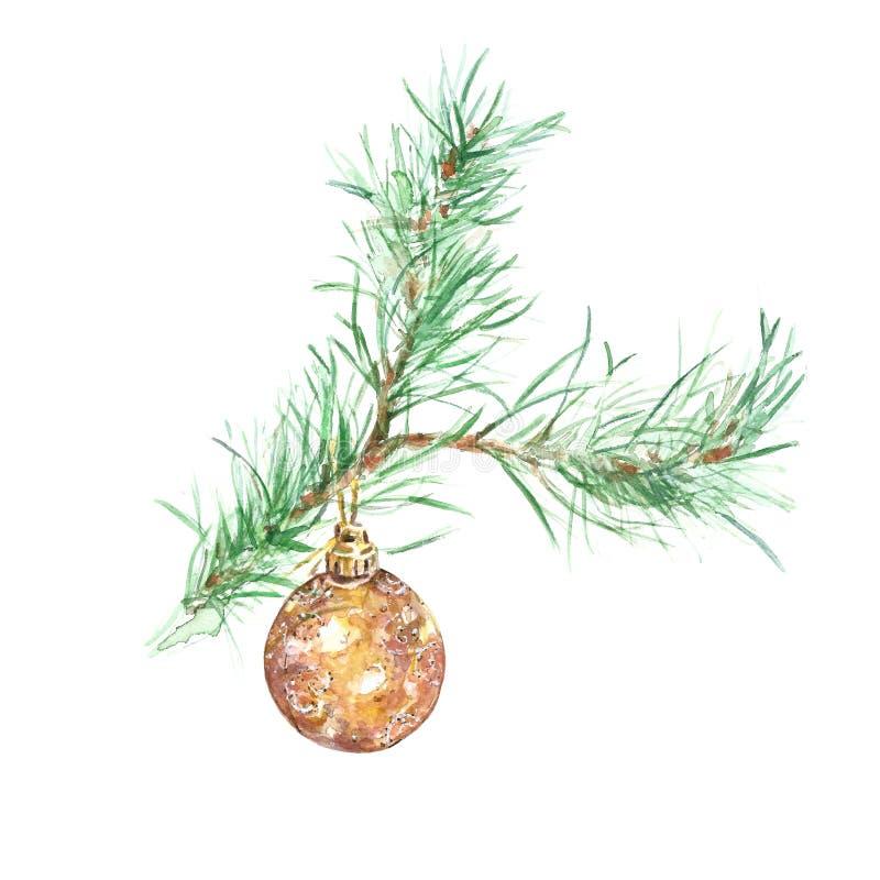 Zimy akwareli choinki gałąź z złotym szklanym bauble ornamentem, odosobnionym na białym tle zdjęcie royalty free